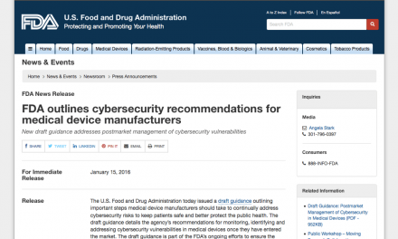 FDA Issues Draft Guidance on Cybersecurity